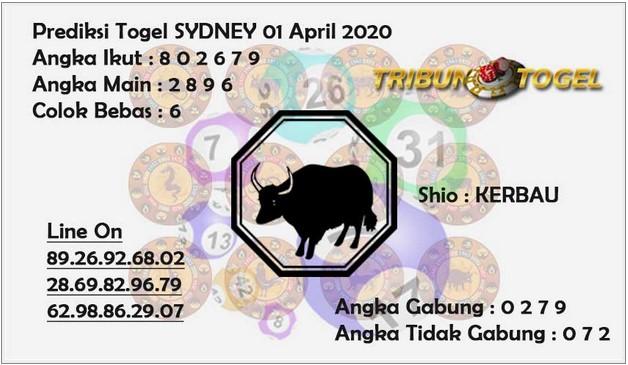 Prediksi Sidney Terjitu Rabu 01 April 2020 - Prediksi Tribun Togel