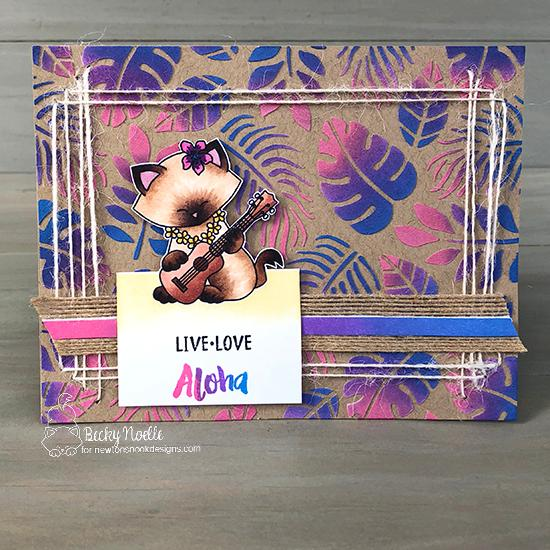 Live, Love, Aloha by Becky features Tropical Leaves and Aloha Newton by Newton's Nook Designs; #newtonsnook