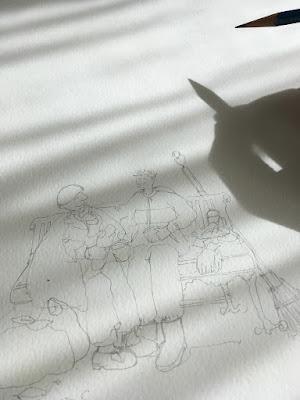 Hide and seek pencil sketch