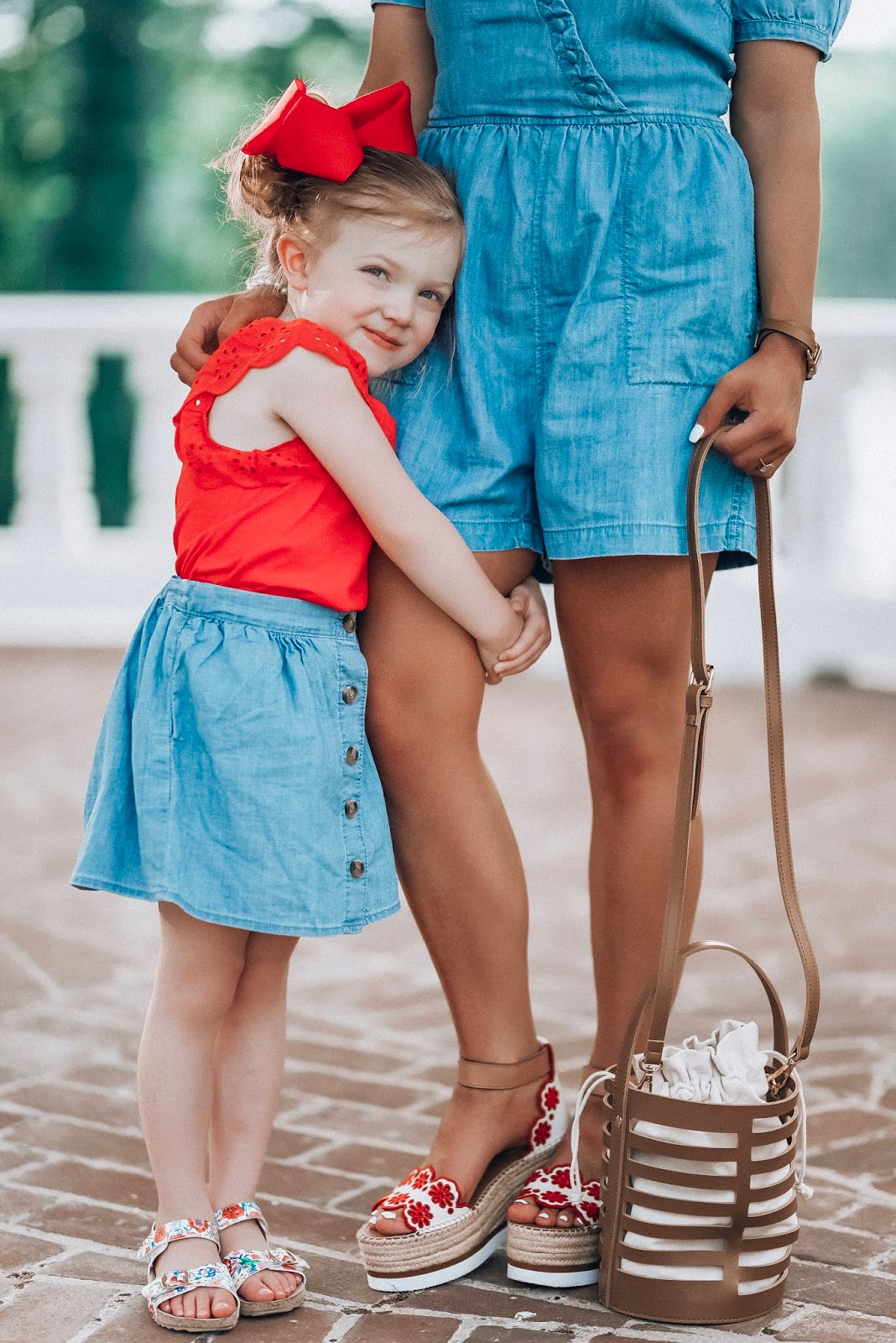 The Best Way to Wear Chambray: Mommy & Me Chambray Style with Red Accessories - Something Delightful Blog