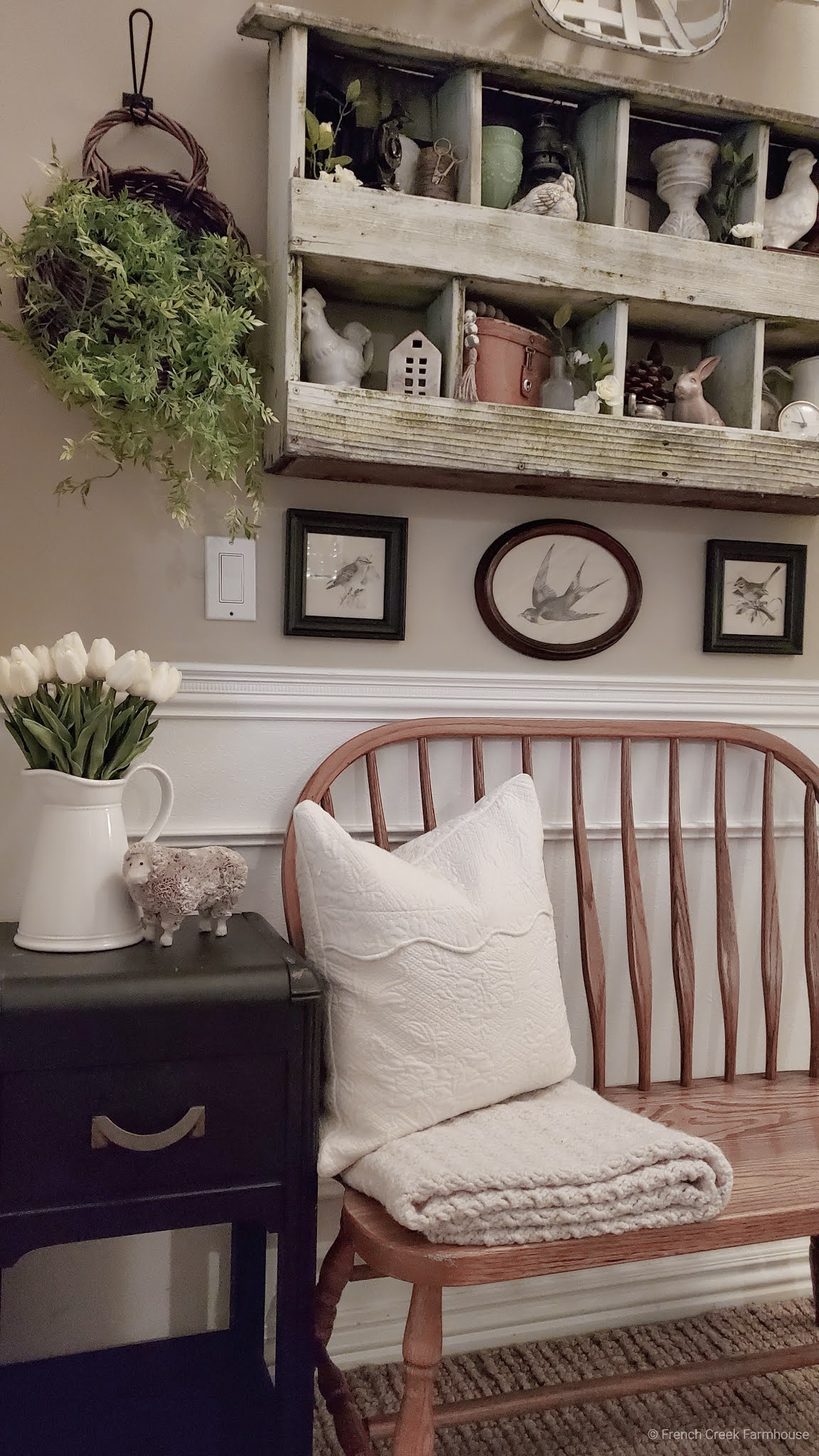 Wall Hanging Basket Above Bench