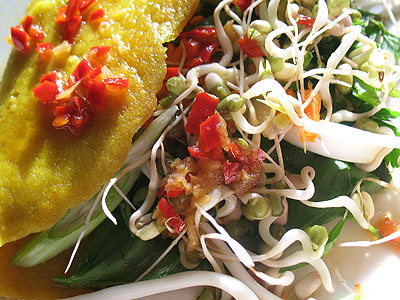 Vietnamese Pancakes with Vegetables, Herbs and a Fragrant Dipping Sauce (Banh Xeo)