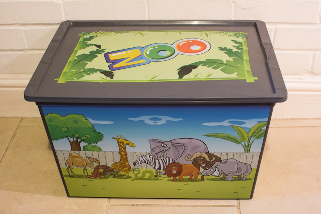 A 50 Litre storage box with zoo animals printed on the side