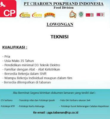 1. LOWONGAN KERJA DI PT CHAROEN POKPHAN INDONESIA