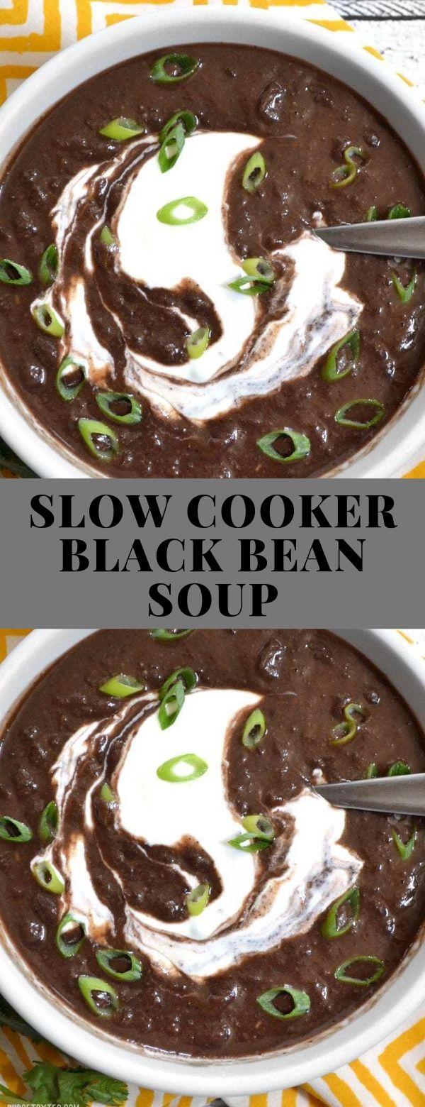 SLOW COOKER BLACK BEAN SOUP #soup #slowcooker