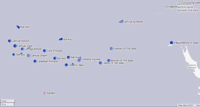 Map showing Carnival and Royal Caribbean cruise ships anchored at sea during the COVID-19 lockdown