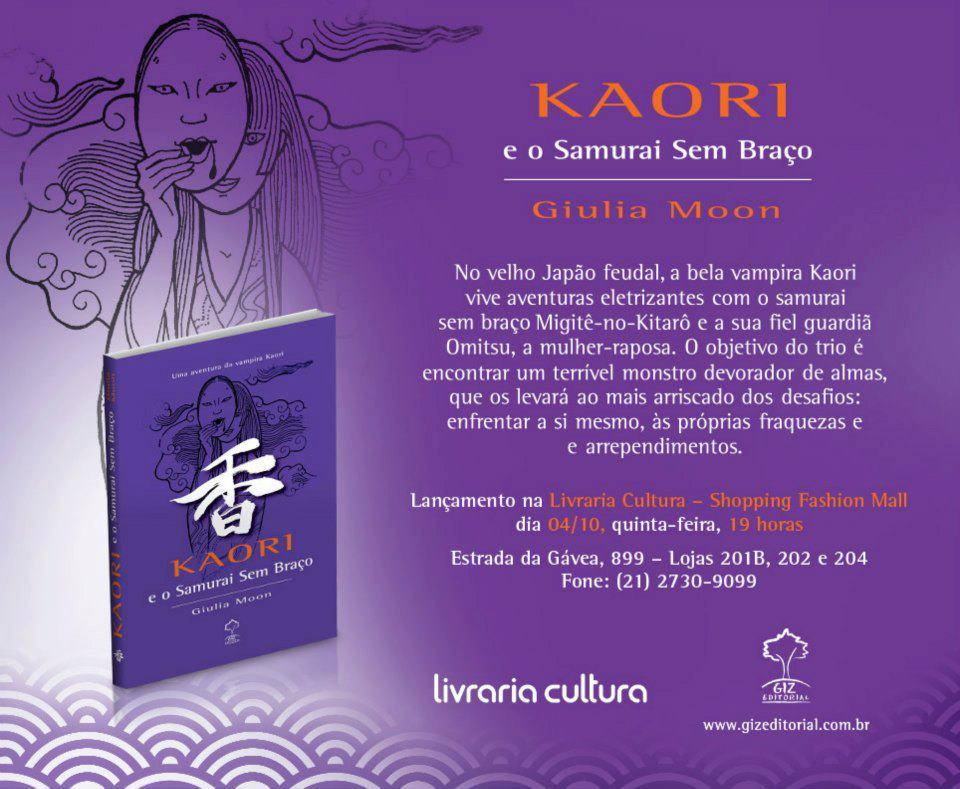 c930aadc1 Kaori e O Samurai Sem Braço faz parte da série de livros da vampira Kaori