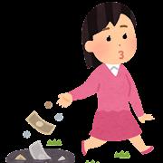 お金をドブに捨てる人のイラスト(女性)