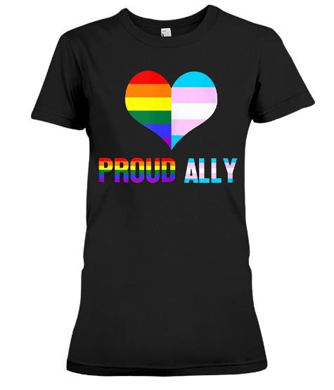 Proud Ally LGBT Rainbow Heart T Shirts Hoodie sweatshirt