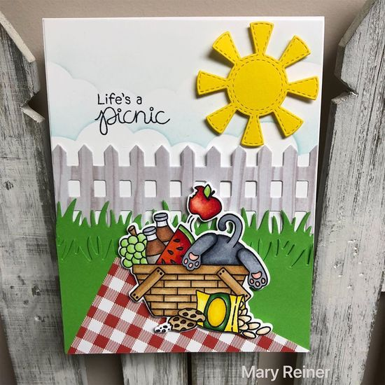 Life's a picnic by Mary Reiner features Newton's Picnic and Fence by Newton's Nook Designs; #newtonsnook
