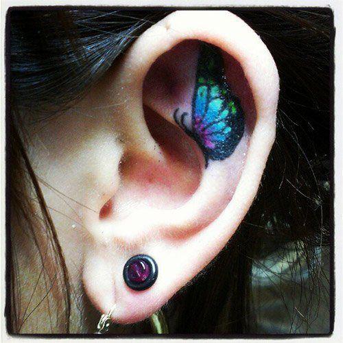Azul pequena Tatuagem de Borboleta no Ouvido