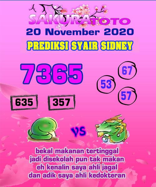 Syair Sakuratoto Sidney Jumat 20 November 2020
