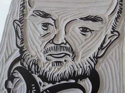 Linocut illustration of John Peel - close up