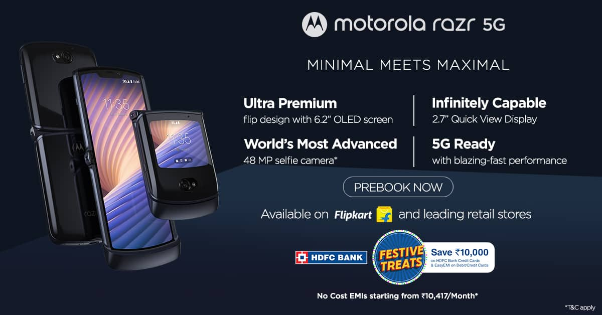 Motorola moto Razr 5G the clamshell beauty launched in india at Rs 1,24,999
