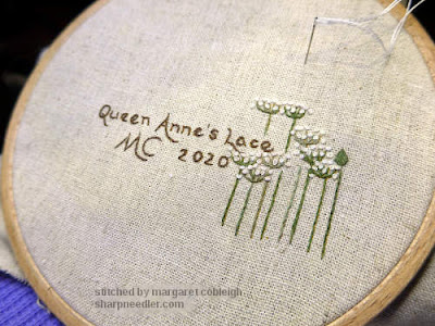 Embroidered back of pinwheel from Jenny McWhinney's Queen Anne's Lace