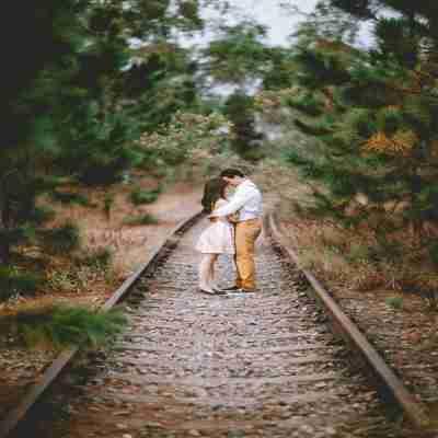 gf and bf doing romance on a railway track