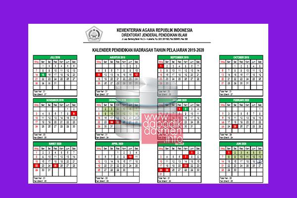 Kalender Pendidikan Madrasah Tahun Pelajaran 2019-2020 Dirjen Pendis, Kaldik Kemenag 2019 (Kalender Pendidikan RA/Madrasah Tahun 2019/2020), Kalender Pendidikan RA MI MTs MA Tahun 2019-2020