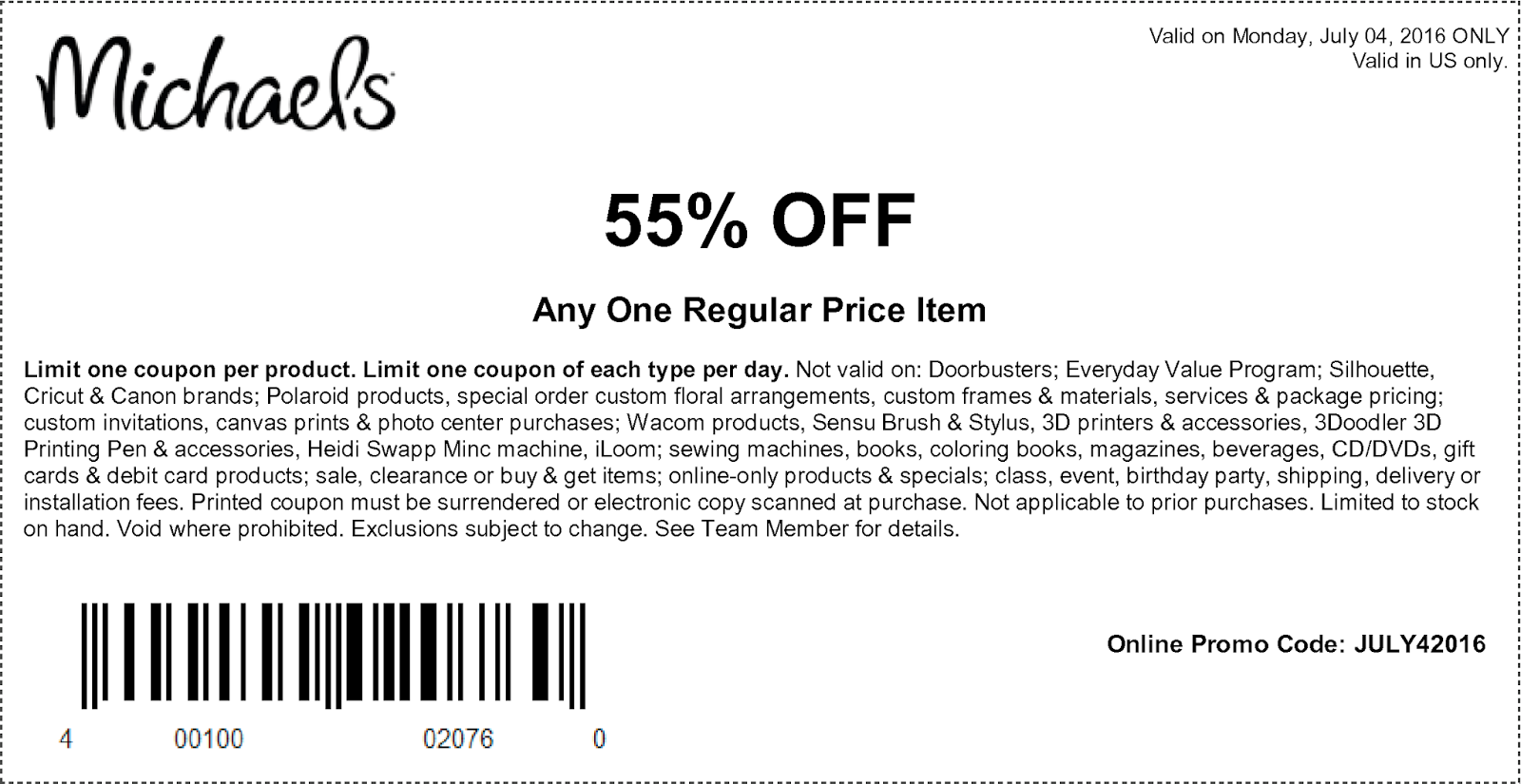 Michaels Craft Store Coupon 55 Off
