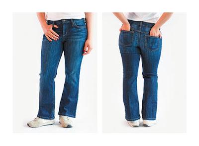 Укороченные расклешенные джинсы на фигуре яблоко