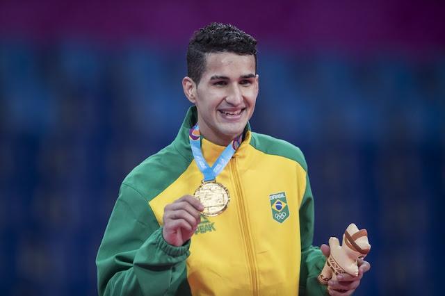"""Edival """"Netinho"""" Marques com a medalha de ouro nos Jogos Pan-Americanos Lima 2019"""