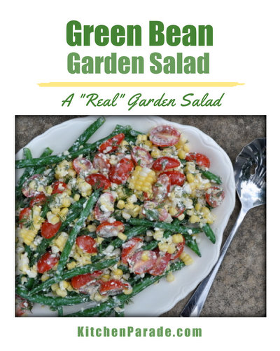 Green Bean Garden Salad, a 'real' garden salad ♥ KitchenParade.com, just fresh beans, tomatoes and corn tossed in tangy feta dressing. Weight Watchers Friendly. Low Carb. Gluten Free.