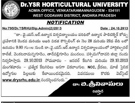 YSR Horiculture University Counseeling notification Polytechnic