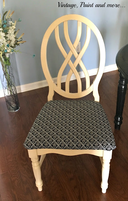 Vintage, Paint and more... dining room chair after seat is upholstered with vintage looking fabric