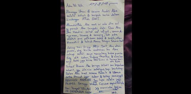 Berkirim Surat dari Rutan, HRS Ceritakan Kondisinya hingga Meminta Revolusi Akhlak Tetap Digelorakan