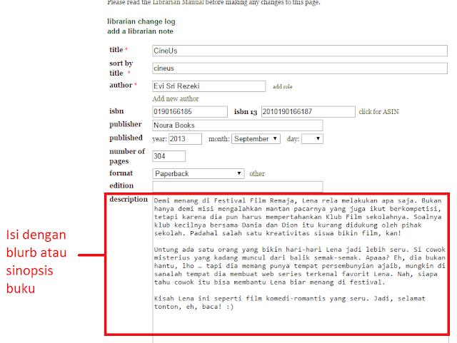 Cara memasukan data buku secara manual di GoodReads