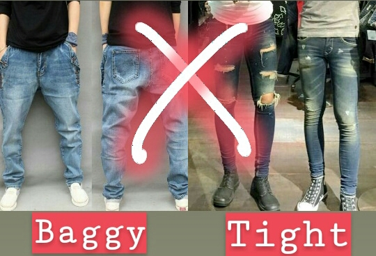 Two boys one is wearing baggy jeans and other is wearing tight fit jeans