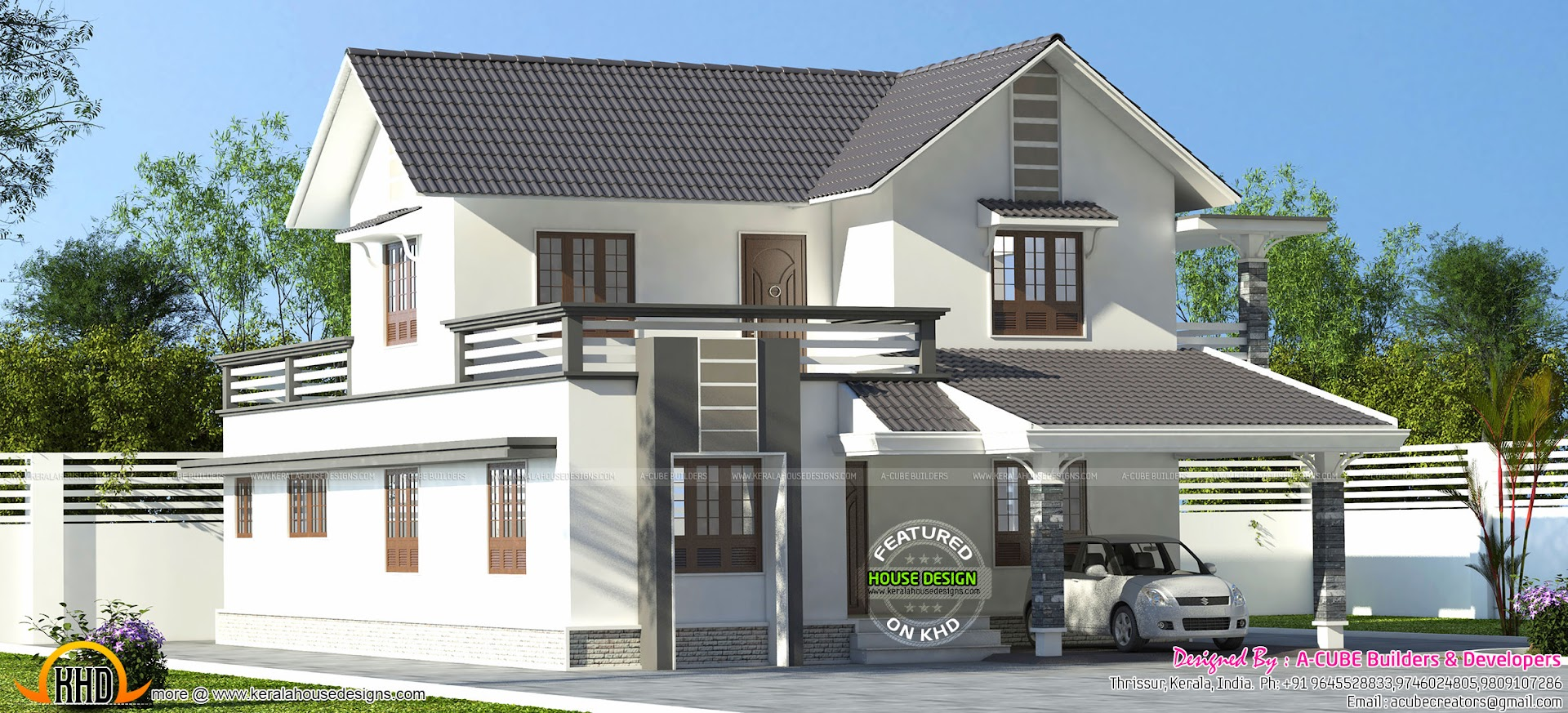 Sloping roof home 2668 sq ft kerala home design and for New model houses in kerala