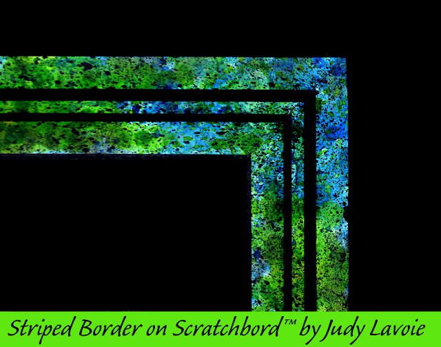 sample striped border on scratchboard by Judy Lavoie