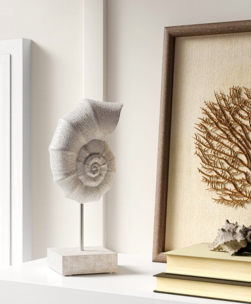 Seashell Statues on Pedestal Stands
