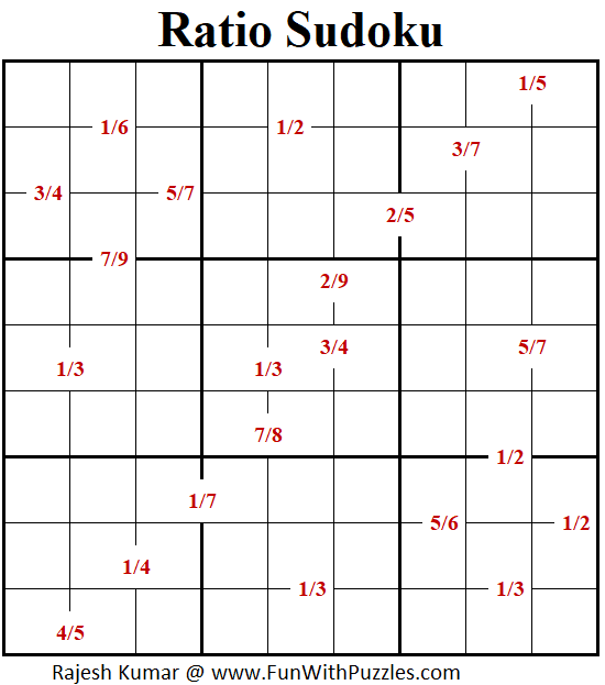Ratio Sudoku Puzzle (Fun With Sudoku #349)