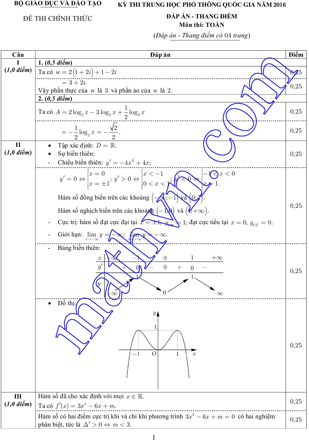 đáp án chính thức môn toán 2016 của bộ giáo dục