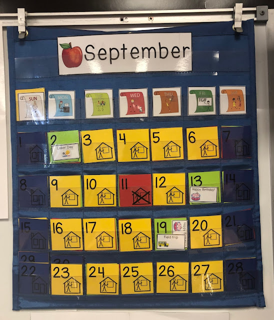 Visual color coded calendars with visuals for the special education classroom
