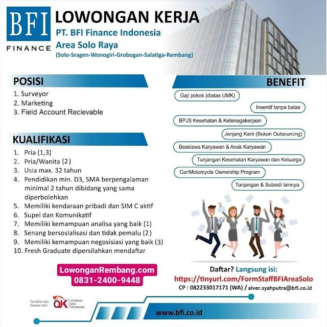 Lowongan Kerja Surveyor, Marketing, Field Account Recievable PT BFI Finance Indonesia Cabang Rembang