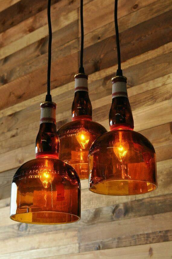 L mparas con botellas de vidrio recicladas construccion - Lamparas de techo hechas en casa ...