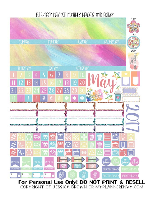Free Printable May 2017 Monthly Headers and Extras for the Vertical Erin Condren and Recollections Creative Year Planners from myplannerenvy.com