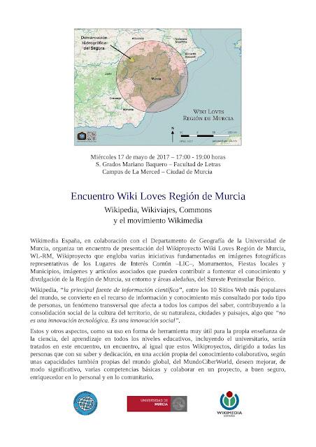"""Wiki Loves Región de Murcia. Wikipedia, Wikiviajes, Commons y el movimiento Wikimedia"""