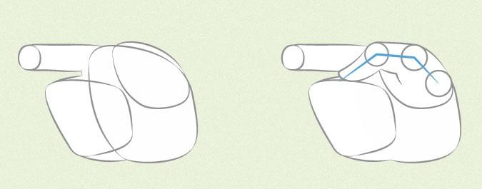 Anime tangan memegang proporsi jari dan ibu jari
