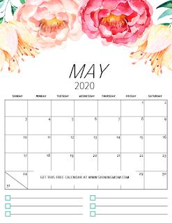 Free Printable Calendar May 2020