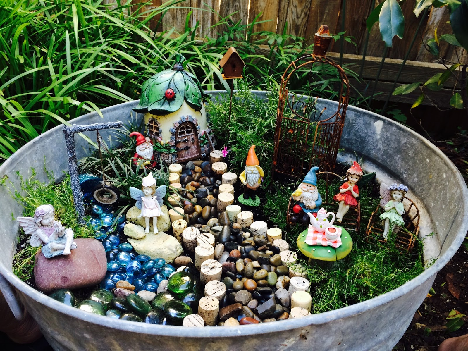 Come Along To See My Fairy Garden That I Made Several Years Ago, Thatu0027s In  My Galvanized Tub. I Have Four Fairies For My Four Granddaughters And Three  ...