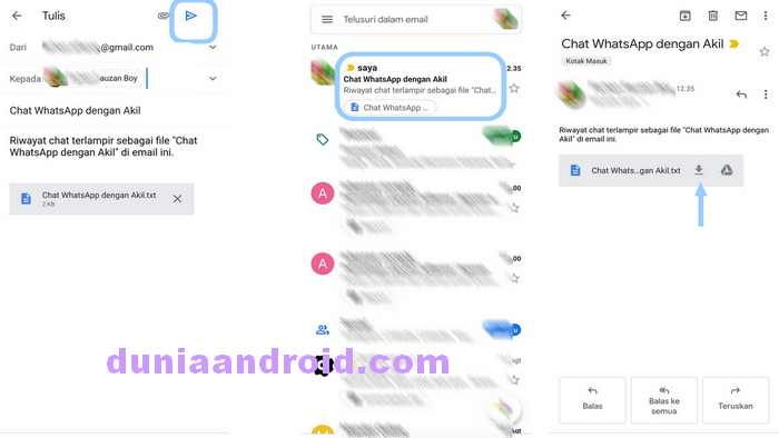 Download File Chat WA dari akun Gmail