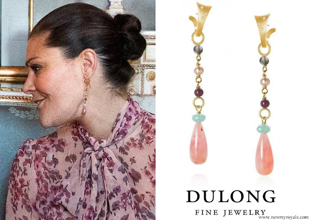 Crown Princess Victoria - Dulong Fine Jewelry Butterfly Earrings with Piccolo Pendants