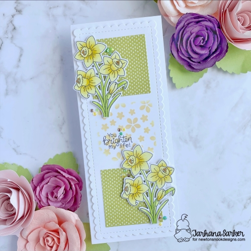 Daffodil Card by Farhana Sarker | Daffodils Stamp Set and Petite Flowers Stencil by Newton's Nook Designs #newtonsnook #handmade