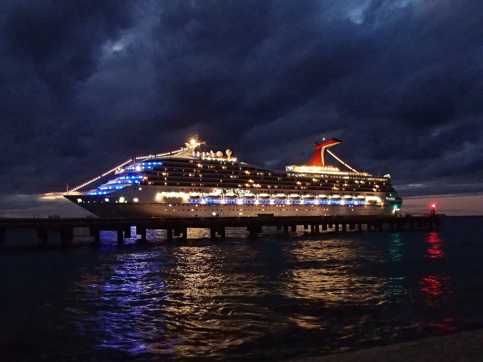 Carnival Victory at night