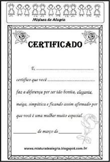 Certificado dia da mulher