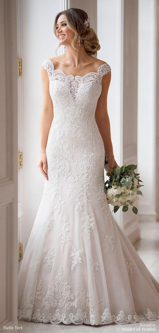 efe7568667 Stella York Spring 2018 Princess Wedding Dress with Off-the-Shoulder Sleeves