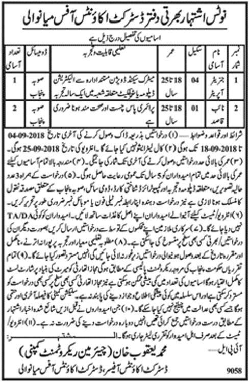 Latest Vacancies Announced in District Accounts Officer Mianwali 8 September 2018